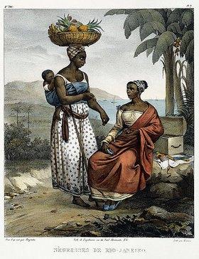 Johann Moritz Rugendas: Zwei dunkelhäutige Frauen aus Rio de Janeiro, aus 'Malerische Reise in Brasilien'. Erschienen