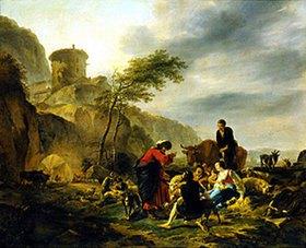 Nicolaes Berchem: Laban mit seinem Gesinde, Arbeit gebend