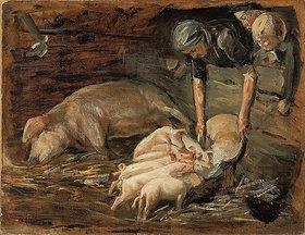 Max Liebermann: Schweinekoben, Wochenstube