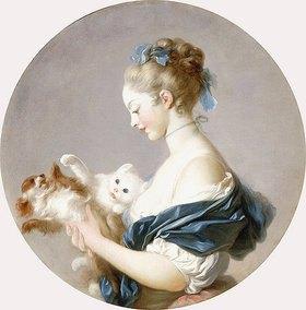 Jean Honoré Fragonard: Mädchen mit einem Hund und einer Katze spielend (wohl Marie-Madeline Colombe)