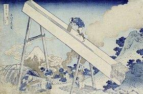 Katsushika Hokusai: In den Totomi Bergen, aus der Serie '36 Ansichten des Berges Fuji'