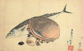 Katsushika Hokusai: Makrele und Seemuscheln