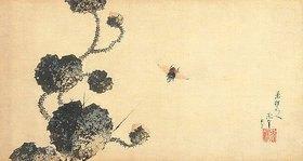 Katsushika Hokusai: Bremse und stachelige Seerose