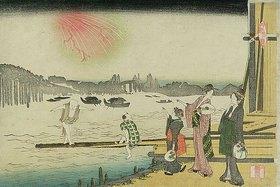 Katsushika Hokusai: Ryogoku Yusuzumi (Ein kühler Abend in Ryogoku). (Zwei Kurtisanen schauen am Ufer des Flusses Sumida einem Feuerwerk zu.)
