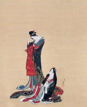Katsushika Hokusai: Zwei Kurtisanen. Edo-Zeit