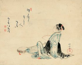 Katsushika Hokusai: Eine Schönheit wartet auf ihren Liebhaber. Das Gedicht geschrieben von Hakujubo. Edo-Zeit