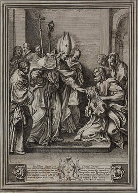 Pietro dell' Aquila: Der selige Bischof Toribius von Lima segnet die heilige Rosa von Lima