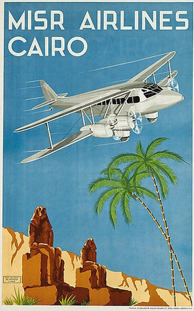 N. Strekalovsky: Werbeplakat für Misr Airlines, Cairo. Um 1934. Gedruckt bei Gale und Polden Ltd., London (Misr Airlines ist der Vorläufer zu Egypt Airlines. Strekalovsky hat mindestens ein anderes Plakat für die Fluglinie entworfen, weitere Arbeiten sind nicht bekannt.)