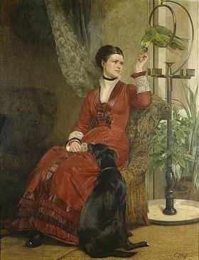 Carl Steffeck: Dame mit Papagei und Hund