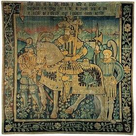 Französisch: Karl der Große zu Pferde mit Begleitern in einer Landschaft, wohl die Marche. Aus der Serie der neun Helden. 1. Hälfte 16. Jh