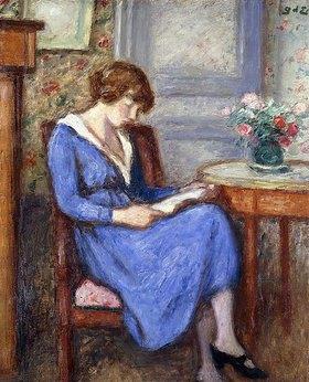 Georges d' Espagnat: Madame d'Espagnat sitzend, in einem blauen Kleid (Mme d'Espagnat Assise à la Robe Bleu)