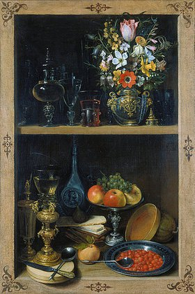 Georg Flegel: Regal mit Blumenvase und Früchten