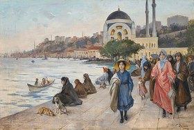 Fausto Zonaro: Mafalda am Ufer des Bosporus, die Dolmabahçe Moschee im Hintergrund