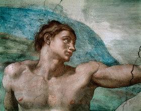 Michelangelo: Adam. Detail aus 'Die Erschaffung Adams'. Ca. 1508-1512. Zustand vor der Restaurierung