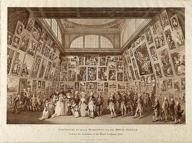 Pietro Antonio Martini: Portraits of their Majesty?s and the Royal Family viewing the Exhibition of the Royal Academy