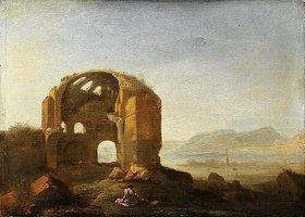 Bartholomeus Breenbergh: Landschaft mit den Ruinen des Tempels der Minerva Medi