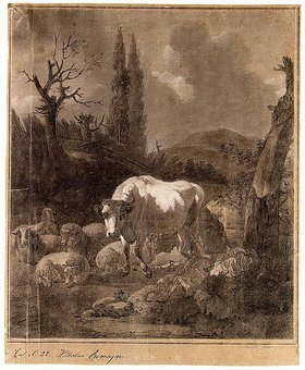 Johann Gerhard Huck: Landschaft mit Herde