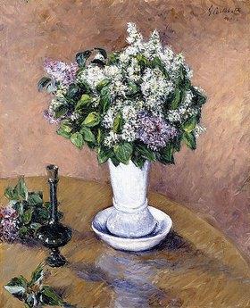 Gustave Caillebotte: Stillleben mit einem Fliederstrauß in einer Vase (Nature Morte au Vase de Lilas)