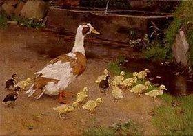 Franz Gräßel: Entenmutter mit Küken