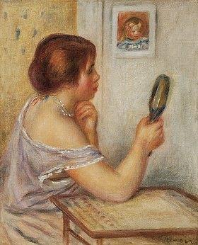 Auguste Renoir: Gabrielle einen Spiegel haltend oder Marie Dupuis einen Spiegel haltend mit einem Porträt von Coco