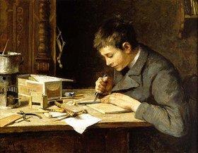 Wilhelm Marc: Sohn Franz beim Holzschneiden