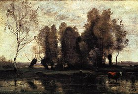 Jean-Baptiste Camille Corot: Baumgruppe an einem Fluss-Ufer