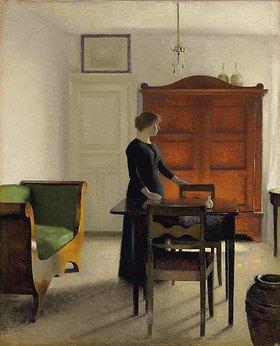 Vilhelm Hammershoi: Ida in einem Interieur. 1897 (Das Gemälde zeigt die Frau des Künstlers.)