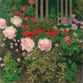 Koloman Moser: Blühende Blumen am Gartenzaun