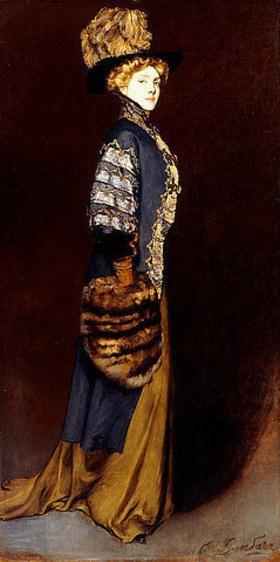 Antonio de la Gandara: Elegante Dame mit einem Pelzmuff