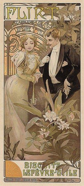 Alfons Mucha: Flirt - Biscuits Lefèvre-Utile
