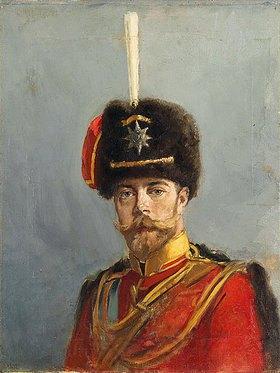 Alexander Vladimirovich Makovsky: Studie für ein Portrait von Kaiser Nikolaus II, Befehlhaber des Husaren-Regiments