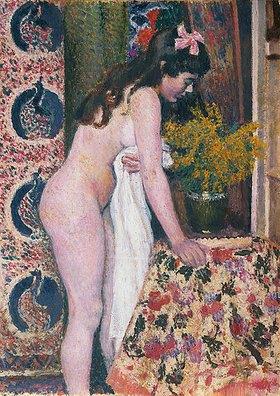 Georges Lemmen: Weiblicher Akt an Blumen riechend (Nu sens les Fleurs)