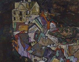 Egon Schiele: Stadtende III. 1917/1918. (Häuserbogen, Krumau)