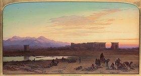 Charles Vacher: Beduinenlager vor dem Tempel von Dendera in Ägypten