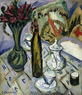 Ernst Ludwig Kirchner: Teekanne, Flasche und rote Blumen