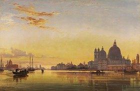 Edward William Cooke: Sonnenuntergang über der Lagune von Venedig, die Kirche San Giorgio in Alga in der Ferne
