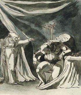 Johann Heinrich Füssli: Eine alte Frau mit Rosenkranz verflucht einen Mann, möglicherweise Queen Margaret, die den Duke of Gloucester verflucht