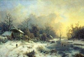 August Piepenhagen: Winterlandschaft mit gefrorenem Teich