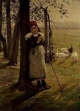 Wenzel von Brozik: Die Gänsehirtin. 1880-er Jahre