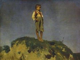 Franz von Lenbach: Hirtenbub auf einem Grashügel