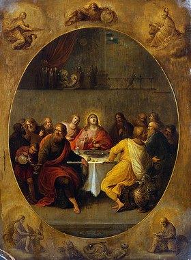 Frans Francken II.: Abendmahls-Szene umrandet von den vier Evangelisten und Gottvater