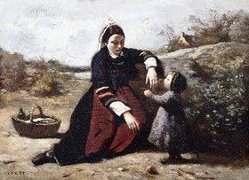 Jean-Baptiste Camille Corot: Bretonin mit ihrer kleinen Tochter (Bretonne avec sa Petite Fille)