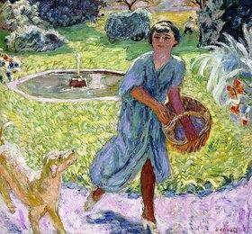 Pierre Bonnard: La Jeune Fille or Jeune Fille Jouant avec un Chien