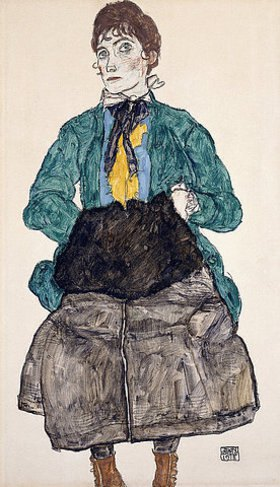 Egon Schiele: Frau in grüner Bluse mit Muff
