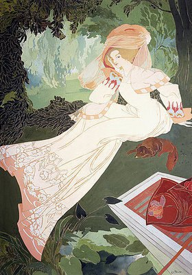 Georges de Feure: Elegante Dame mit Hund