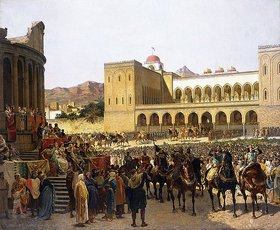 Giuseppe Sciuti: Der Austritt Rogers I, Herrscher von Sizilien, aus dem Palazzo Reale
