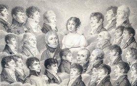 Französisch: Porträt einer jungen Dame umgeben von ihren Bewunderern