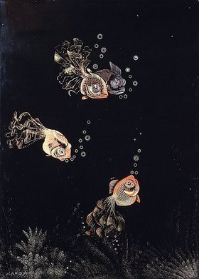 Jean Dunand: Unterwasser-Szene mit rotem und goldenem Fisch, Luftblasen ausstoßend