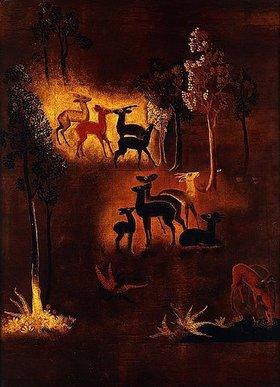 Jean Dunand: Rehe in einer Waldlandschaft