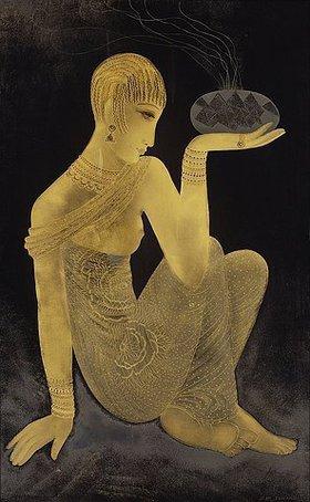 Jean Dunand: Parfum. Ein Mädchen in einem orientalischen Schal gekleidet mit einem Weihrauchbrenner
